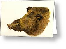Wild Boar Head Study Greeting Card by Juan  Bosco