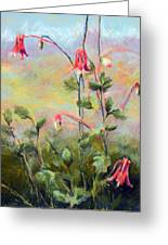 Wild Columbines Greeting Card by Lenore Gaudet