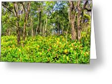 Wild Ginger And Ohia Trees Greeting Card
