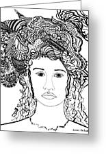 Wild Hair Portrait In Shapes And Lines Greeting Card by Lenora  De Lude