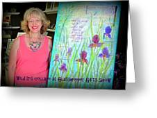 Wild Iris Collage At Glasshopper Gifts Show Greeting Card