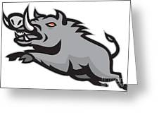 Wild Pig Boar Jumping Isolated Greeting Card by Aloysius Patrimonio