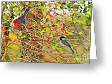 Wild Red Berrie Bush With Birds - Digital Paint Greeting Card