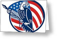 Wild Turkey Perching American Flag Greeting Card