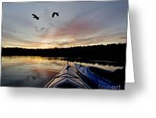 Wilderness Lake Sunset Greeting Card