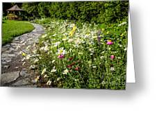 Wildflower Garden And Path To Gazebo Greeting Card
