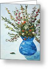 Wildflowers In A Blue Vase Greeting Card