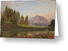 Wildflowers Mountains River Western Original Western Landscape Oil Painting Greeting Card