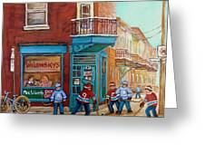Wilensky Montreal-fairmount And Clark-montreal City Scene Painting Greeting Card by Carole Spandau