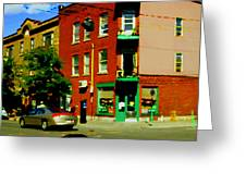 Wilenskys Famous Light Lunch Diner Corner Clark And Fairmount Montreal City Scene Carole Spandau Greeting Card