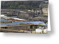 Willamette Falls Dam In Oregon City Panorama 3 Greeting Card