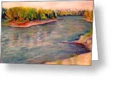 Willamette River Reflections - Morning Light Greeting Card