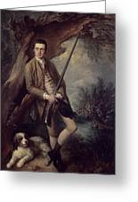 William Poyntz Of Midgham And His Dog Amber Oil On Canvas Greeting Card