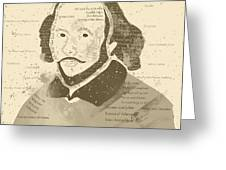 William Shakespeare Typography Portrait  Greeting Card