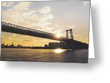 Williamsburg Bridge - Sunset - New York City Greeting Card