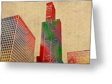 Willis Sears Tower Chicago Illinois Watercolor On Worn Canvas Series Greeting Card by Design Turnpike