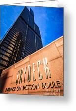Willis-sears Tower Skydeck Sign Greeting Card by Paul Velgos