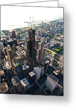 Willis Tower Chicago Aloft Greeting Card by Steve Gadomski