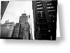 Willis Tower In The Clouds - Black And White Greeting Card