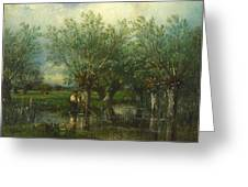 Willows With A Man Fishing Greeting Card