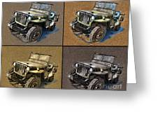 Willys Jeep Mb Car Drawing Greeting Card
