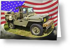 Willys World War Two Army Jeep And American Flag Greeting Card