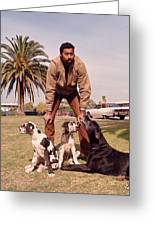 Wilt Chamberlain With Dogs Greeting Card by Retro Images Archive