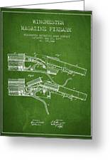Winchester Firearm Patent Drawing From 1877 - Green Greeting Card