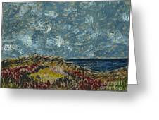 Wind Blowing The Clouds Around Over The Sea. Rincon Ventura California Greeting Card