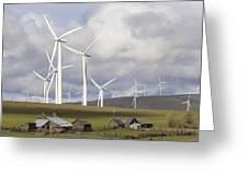 Wind Farm By Cattle Ranch In Washington State Greeting Card