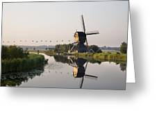 Wind Mill On A Canal, Holland Greeting Card