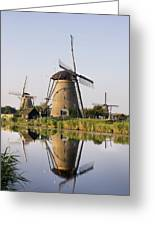 Wind Mills Next To Canal, Holland Greeting Card