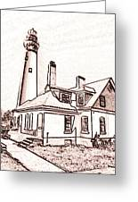 Wind Point Lighthouse Drawing Mode 1 Greeting Card