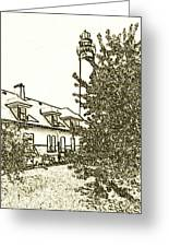 Wind Point Lighthouse Drawing Mode 2 Greeting Card