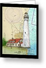 Wind Pt Lighthouse Wi Nautical Chart Map Art Cathy Peek Greeting Card