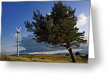 Wind Turbine And Tree On The Plateau Of  Cezallier. Auvergne. France. Greeting Card