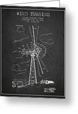 Wind Turbine Patent From 1944 - Dark Greeting Card