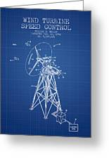 Wind Turbine Speed Control Patent From 1994 - Blueprint Greeting Card