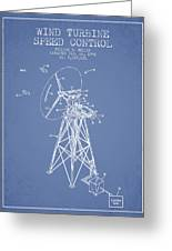Wind Turbine Speed Control Patent From 1994 - Light Blue Greeting Card