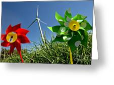 Wind Turbines And Toys Greeting Card
