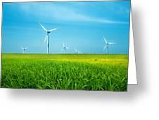 Wind Turbines On Green Field Greeting Card