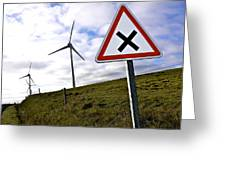 Wind Turbines On The Edge Of A Field With A Road Sign In Foreground. Greeting Card