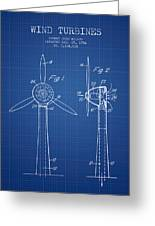 Wind Turbines Patent From 1984 - Blueprint Greeting Card