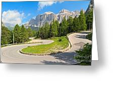 Winding Road To Pordoi Pass Greeting Card