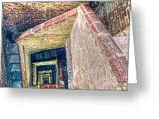 Winding Square Staircase Of Old Brick-walled Tower Greeting Card