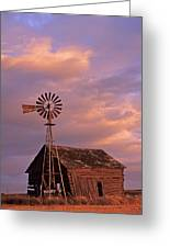 Windmill And Barn Sunset Greeting Card