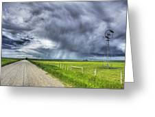 Windmill And Country Road With Storm Greeting Card