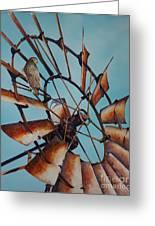 Windmill And Hawk Greeting Card