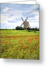 Windmill And Poppy Field In Brittany Greeting Card