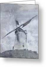 Windmill At Damme In Belgium Countryside Greeting Card